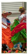 Hispanic Women Dancing In Colorful Skirts Art Prints Beach Towel