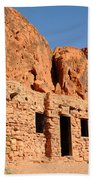 Historic Civilian Conservation Corps Stone Cabins In The Valley Of Fire Beach Towel