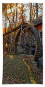 Historic Grist Mill With Fall Foliage Beach Towel