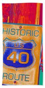Historic Route 40 Pop Art Beach Towel