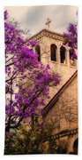Historic Sierra Madre Congregational Church Among The Purple Jacaranda Trees  Beach Towel