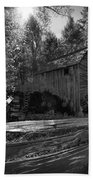 Historical 1868 Cades Cove Cable Mill In Black And White Beach Towel