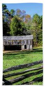 Historical Cantilever Barn At Cades Cove Tennessee Beach Towel by Kathy Clark