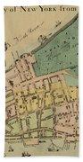 Historical Manhattan Map 1728 Beach Towel
