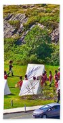 Historical Reenactment Near Visitor's Center In Signal Hill National Historic Site In St. John's-nl Beach Towel
