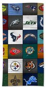 Hit The Gridiron Football League Retro Team Logos Recycled Vintage License Plate Art Beach Towel