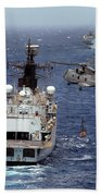 Hms Cornwall Is Pictured Receiving Stores By Merlin Helicopter  Beach Towel
