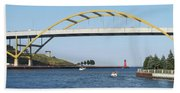 Hoan Bridge Boats Light House 1 Beach Towel