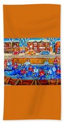 Hockey Art Collectible Cards And Prints Snowy Day  Neighborhood Rinks Verdun Montreal Art C Spandau Beach Towel