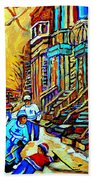 Hockey Art Montreal Winter Scene Winding Staircases Kids Playing Street Hockey Painting  Beach Towel by Carole Spandau