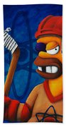 Hockey Homer Beach Towel by Marlon Huynh