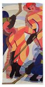 Hockey Players Beach Towel by Ernst Ludwig Kirchner