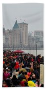 Holiday Crowds Throng The Bund In Shanghai China Beach Towel