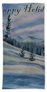 Happy Holidays - Winter Landscape Beach Towel