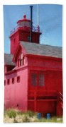 Holland Harbor And Big Red Beach Towel