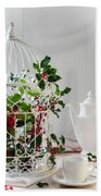 Holly And Berries Birdcage Beach Towel