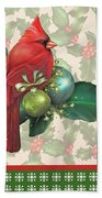 Holly And Berries-d Beach Towel