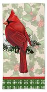 Holly And Berries-e Beach Towel