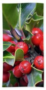 Holly Berries 2 Beach Towel