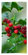 Holly Berries Beach Towel