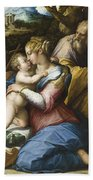Holy Family With Saint Francis In A Landscape Beach Towel