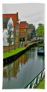 Homes Near The Dike In Enkhuizen-netherlands Beach Towel