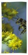 Honeybee In Flight Beach Towel