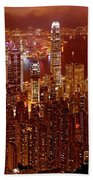 Hong Kong In Golden Brown Beach Towel