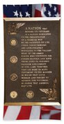Honor The Veteran Signage With Flags 2 Panel Composite Digital Art Beach Towel