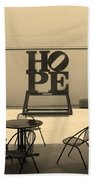 Hope And Chairs In Sepia Beach Towel