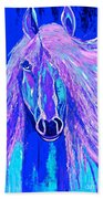 Horse Abstract Blue And Purple Beach Towel