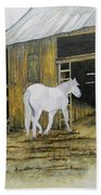Horse And Barn Beach Towel by Bertie Edwards