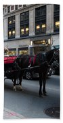 Horse And Carriage Nyc Beach Towel
