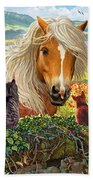 Horse And Cats Beach Towel