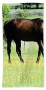 Horse And Flowers Beach Towel