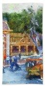 Horse And Trolley Turning Main Street Disneyland Photo Art 02 Beach Towel