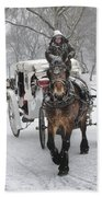 Horse Carriages In Snowy Park Beach Towel