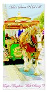 Horse Drawn Trolley Car Main Street Usa Beach Towel