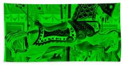 Green Horse E Beach Towel