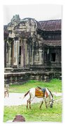 Horse In Front Of Outer Building In Angkor Wat In Angkin Angkor Wat Archeological Park-cambodia Beach Towel