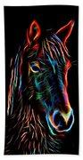 Horse On Black Beach Towel