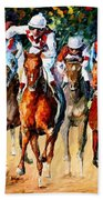 Horse Race - Palette Knife Oil Painting On Canvas By Leonid Afremov Beach Towel