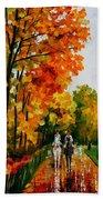 Horseback Stroll - Palette Knife Oil Painting On Canvas By Leonid Afremov Beach Towel