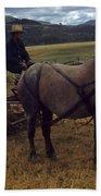 Horsedrawn Harvester Hay Rake On The Berta Ranch Carmel Valley California Circa 1950 Beach Towel