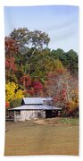 Horses And Barn In The Fall 2 Beach Towel