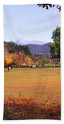 Horses And Barn In The Fall 4 Beach Towel