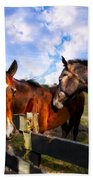 Horses At The Fence Beach Towel