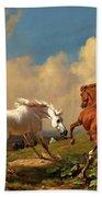 Horses Balking At Approaching Storm Beach Towel