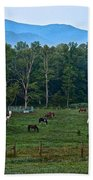 Horses Graze At Dawn Beach Towel