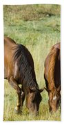 Horses Grazing Beach Towel